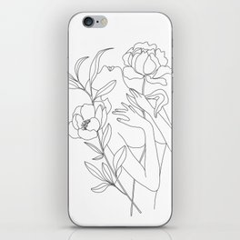 Minimal Line Art Woman with Peonies iPhone Skin