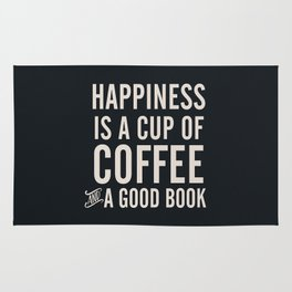 Happiness is a cup of coffee and a good book, vintage typography illustration, for libraries, pub Rug