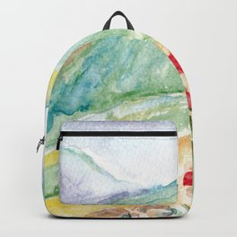 Mountain flowers. Abstract watercolor landscape Backpack
