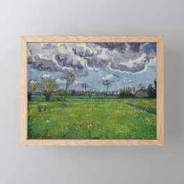 Meadow With Flowers Under a Stormy Sky Framed Mini Art Print