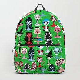 Spooky Dolls on Green Backpack