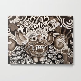 Bali Mask - Black and White Metal Print