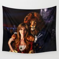 beauty and the beast Wall Tapestries featuring Beauty And The Beast by Al Digit