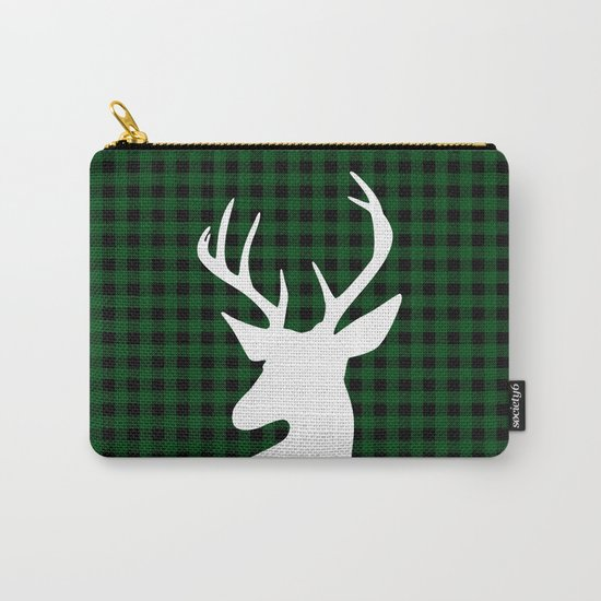 Elegant Green Plaid Deer Design Carry-All Pouch