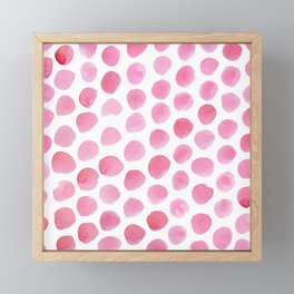 Pink Polka Dot Watercolour Framed Mini Art Print
