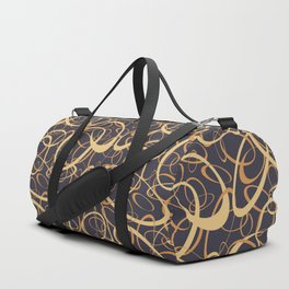 funky retro loops orange cream navy Duffle Bag