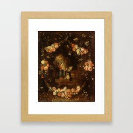 """Jan van Kessel """"Madonna with the Child Framed with a Garland of Flowers"""" Framed Art Print"""