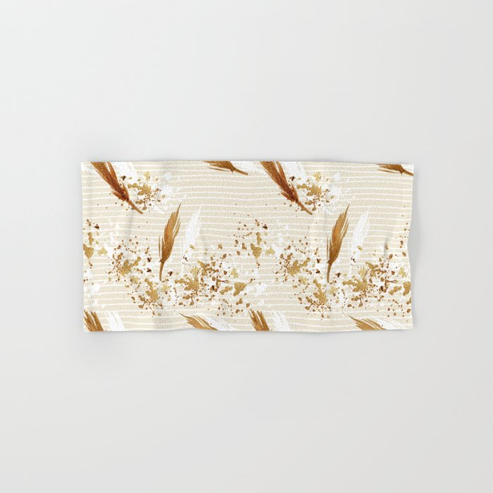 Feather peacock gold #3 Hand & Bath Towel