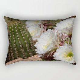 Desert Bloom Cactus in White and Green Rectangular Pillow