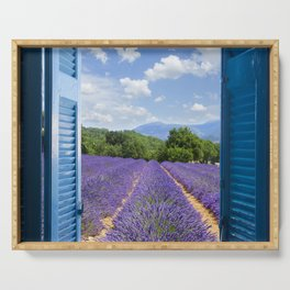 wooden shutters, lavender field Serving Tray