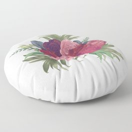 Pink Flowers Painting Floor Pillow