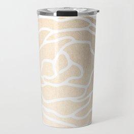 Rose White Gold Sands on White Travel Mug