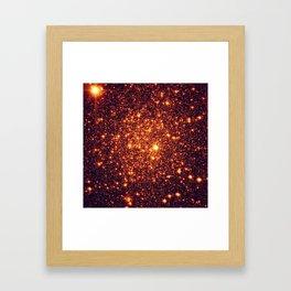 Copper Bronze Glitter Stars Framed Art Print
