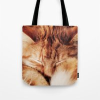 garfield Tote Bags featuring Garfield Sleeps by Rachel's Pet Portraits