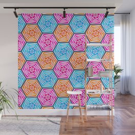 Hexagon Pattern (Bright Blue, Hot Pink, Orange) Graphic Flowers Wall Mural