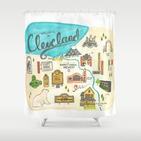 cleveland Shower Curtains featuring Hipster Cleveland by Emily Jankov