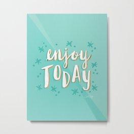 Enjoy Today – Mint & Gold Palette Metal Print