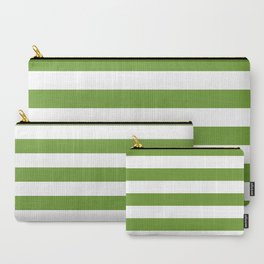 Green and White Stripes Carry-All Pouch