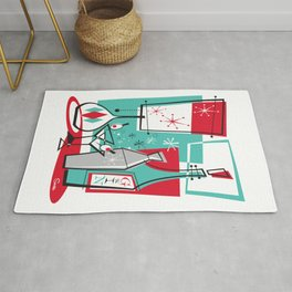 Mid Century Modern Martini art by Art of Scooter Rug