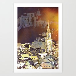 Watercolor painting of steeple of 13th century Church of the Holy Spirit in city of Heidelberg, Germany Art Print