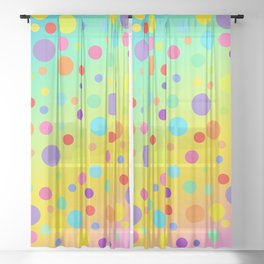 Gorgeous Rainbow Gradient with Colorful Polka Dots Sheer Curtain