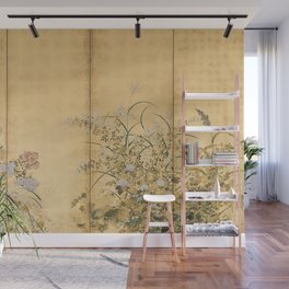 Japanese Edo Period Six-Panel Gold Leaf Screen - Spring and Autumn Flowers Wall Mural