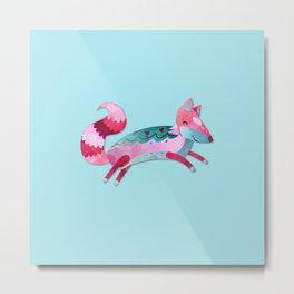 Pink & Blue Pastel Love FOX Metal Print