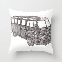 volkswagon Throw Pillows featuring Tangled VW Bus - side view by Cherry Creative Designs