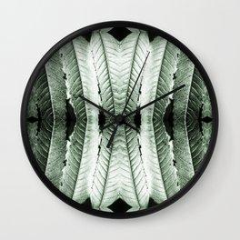 Fresh green sumac leaves pattern surreal symmetrical kaleidoscope Wall Clock