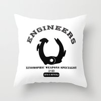 prometheus Throw Pillows featuring Prometheus Engineers Xenomorph University by WhyTee1300