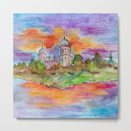 Sunset's landscape with church painting by watercolor Metal Print