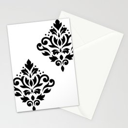 Scroll Damask Art I Black on White Stationery Cards