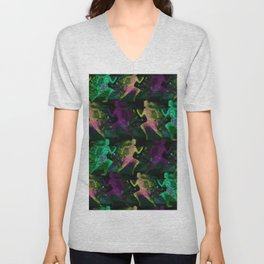 Watercolor women runner pattern on Dark Background Unisex V-Neck