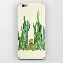 In my happy place - hedgehog meditating in cactus jungle iPhone Skin