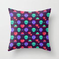 Kawaii Aliens Throw Pillow
