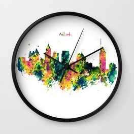 Atlanta Watercolor Skyline Wall Clock