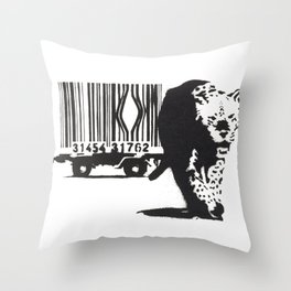 Banksy Animal Rights Artwork, Jaguar Tiger Barcode Prints, Posters, Bags, Tshirts, Men, Women, Youth Throw Pillow