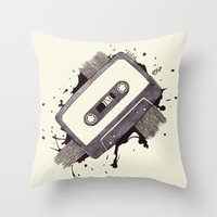 cassette Throw Pillows featuring Cassette by One Curious Chip