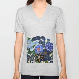 Vintage & Shabby Chic - Blue Flower Summer Meadow Unisex V-Neck