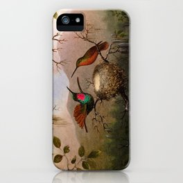 Martin Johnson Heade - Two Hummingbirds at a Nest - Hummingbird iPhone Case