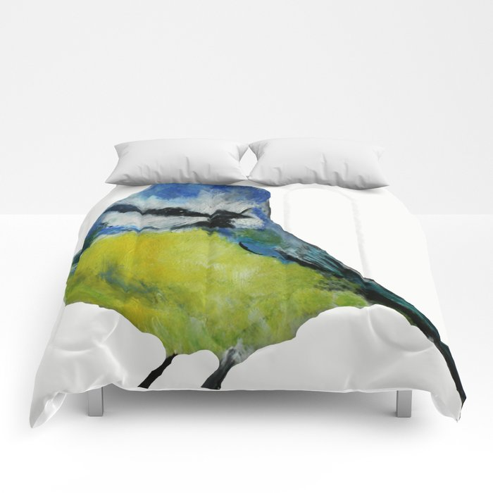 Wild English Garden Bird Blue Tit Contemporary Acrylic Painting White Edit Comforters