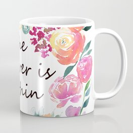 The Answer is Within Uplifting Words in Colorful Floral Wreath Coffee Mug
