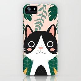 Jungle Cat Black and White iPhone Case
