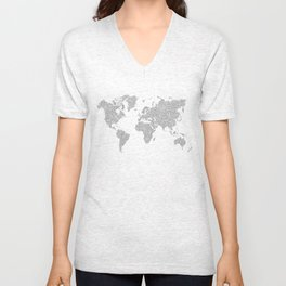 World Map Circuit Motif  Unisex V-Neck