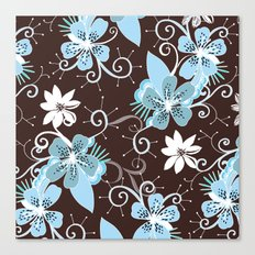 Summer blossom, brown and blue pattern Canvas Print