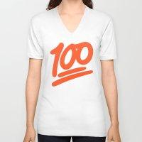 emoji V-neck T-shirts featuring 100 EMOJI by Nolan Dempsey
