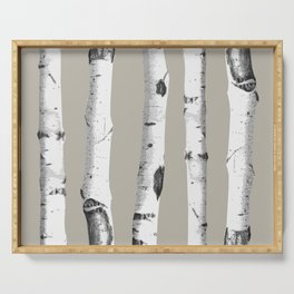 Birch tree forest art Serving Tray