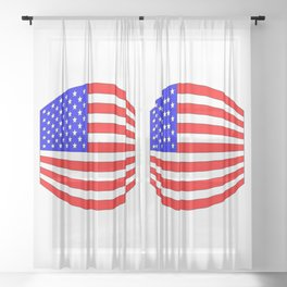 USA Stars and Stripes Flag Wide Sheer Curtain