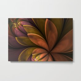 Autumn Plant, Fantasy Flower Fractal Art Metal Print