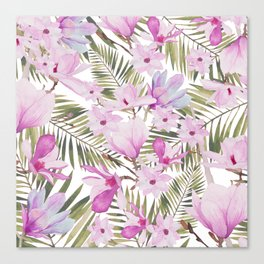 Tropical hand painted green magenta watercolor floral Canvas Print